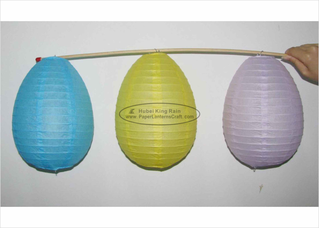 Blue Yellow White Egg Shaped Paper Lanterns For Easter Festival Decoration