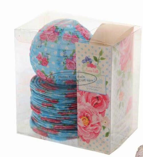 Red Battery Operated Lantern String Lights Paper Material With Rose Flower Patterned