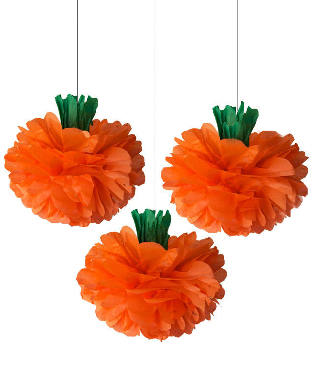Tissue Paper Pom Pom Flowers Honeycomb Halloween Decorations 100% Handmade