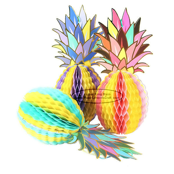 Multicolor Pineapple Summer Themes Decoration Honeycomb Poms