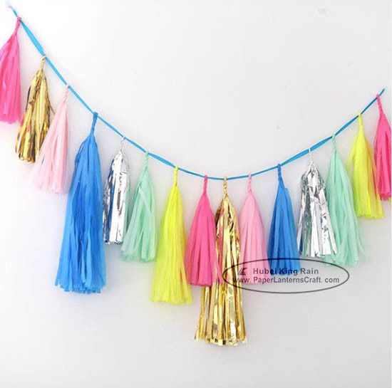 Bright-coloured Colorful Paper Tassel Garland Birthday Party Garland